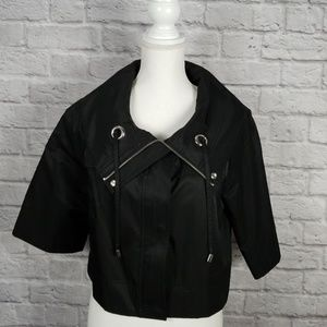 Apt 9 Black Jacket Zippers Snaps Waist High